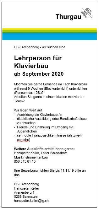Inserat BBZ Arenenberg